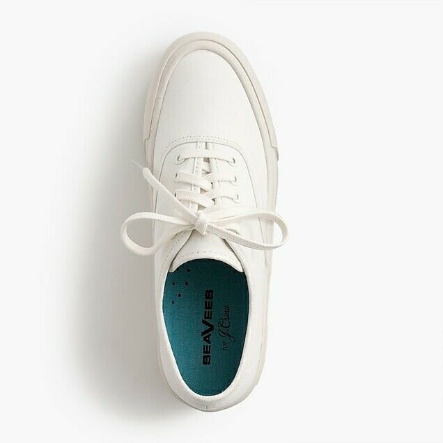 J. Crew Neuf dans sa boîte Seavees Legend Plate-forme Baskets blanc Toile chaussures SZ. 9.5 H8065