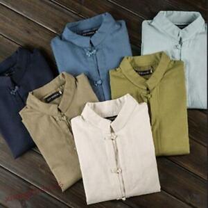 Summer-Mens-Loose-Cotton-Linen-Tops-Short-Sleeve-T-Shirt-Vintage-Blouse-Shirts