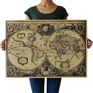71x50cm vintage world map globe retro matte brown paper old poster image is loading 71x50cm vintage world map globe retro matte brown gumiabroncs Images