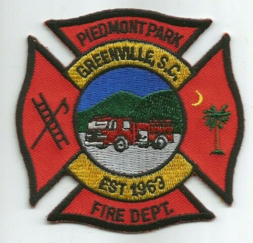 "fire patch Piedmont Park // Greenville fire dept. 3/"" x 3/"" size South Carolina"