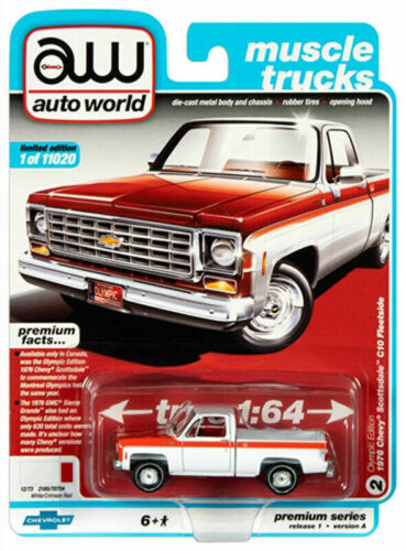 Auto World Truck 1:64 Nouveau RR 1976 CHEVROLET Scottsdale c10 BONANZA FLEETSIDE