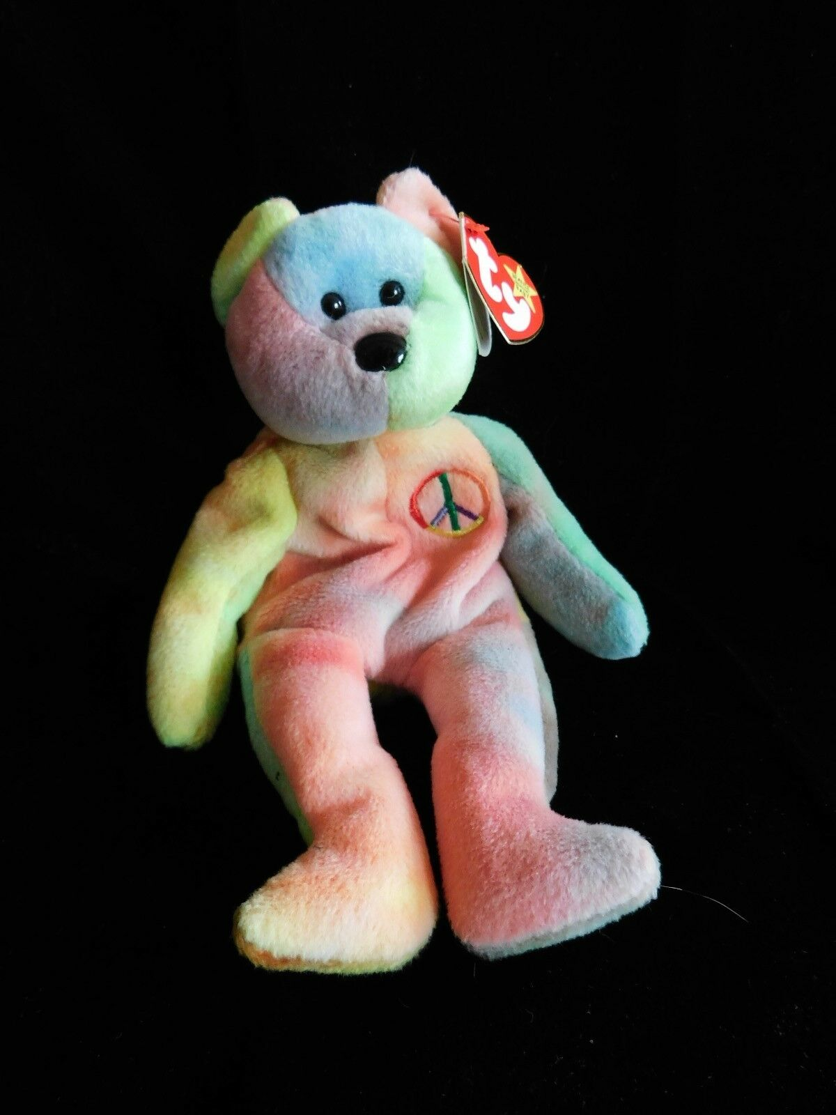 RARE 1996 Beanie Baby Peace Peace Peace Bear 1st Edition With all the Errors and PVC pellets fc00d7