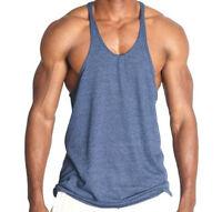 Mens Workout Bodybuilding Wear Triblend Stringer Tank Top Gym Clothing Soft Thin