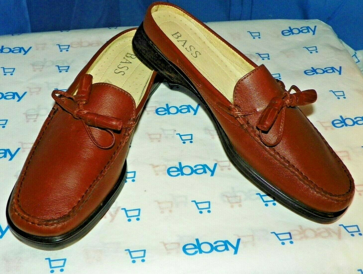 AUTHENTIC BASS 125 MENS LEATHER LOAFER SLIP ON MOCCASSIN WITH TASSEL SIZE 10 M