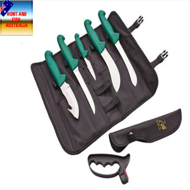 Buffalo River Hunting Knife 6 Pce Set with Knife Roll #BRKBKR - BEST VALUE!