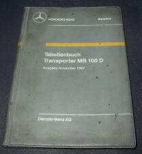 Tabellenbuch Mercedes Transporter MB 100 D Ausgabe November 1987