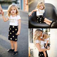 Infant Baby Girls Clothes Set Print T-shirt Dot Skirt Dress Outfits Summer Dress