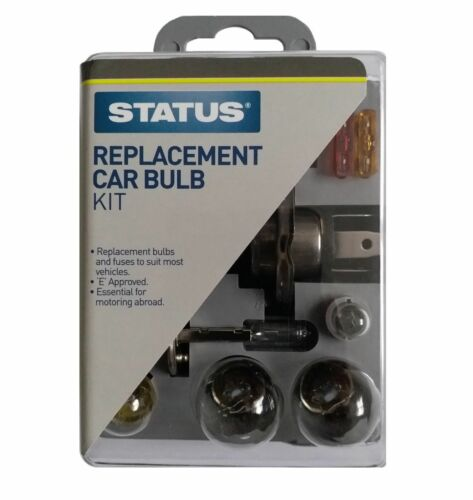 10pc Travel Car Spare Bulb /& Fuse Kit Universal Replacement Emergency Status