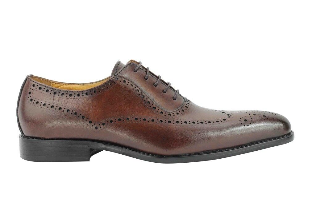 Da Uomo Marrone Vera Pelle Smart Lacci Casual DESIGN ITALIANO Oxford Lacci Smart Brogue Scarpe 7bc492