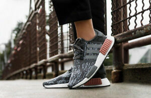 premium selection b2af0 02212 Image is loading Adidas-NMD-R1-Grey-amp-Raw-Pink-Sizes-