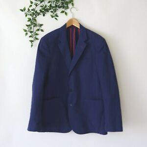 Robert-Graham-Men-039-s-Two-Button-Seersucker-Cotton-Blazer-Classic-Fit-Size-44-Blue