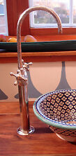 Hand engraved long mounted Moroccan silver colour mixer  bathroom wash basin tap