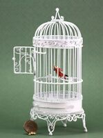 Dollhouse Miniature Large White Bird Cage With Bird