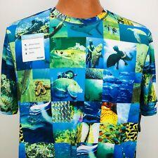 Reel Legends Mens Freeline Short Sleeve Blue Fishing Diver Shirt Medium