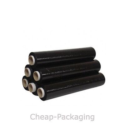 1 2 6 12 24 ROLLS OF BLACK STRONG PALLET STRETCH SHRINK WRAP 25Mu 500mm x 250m