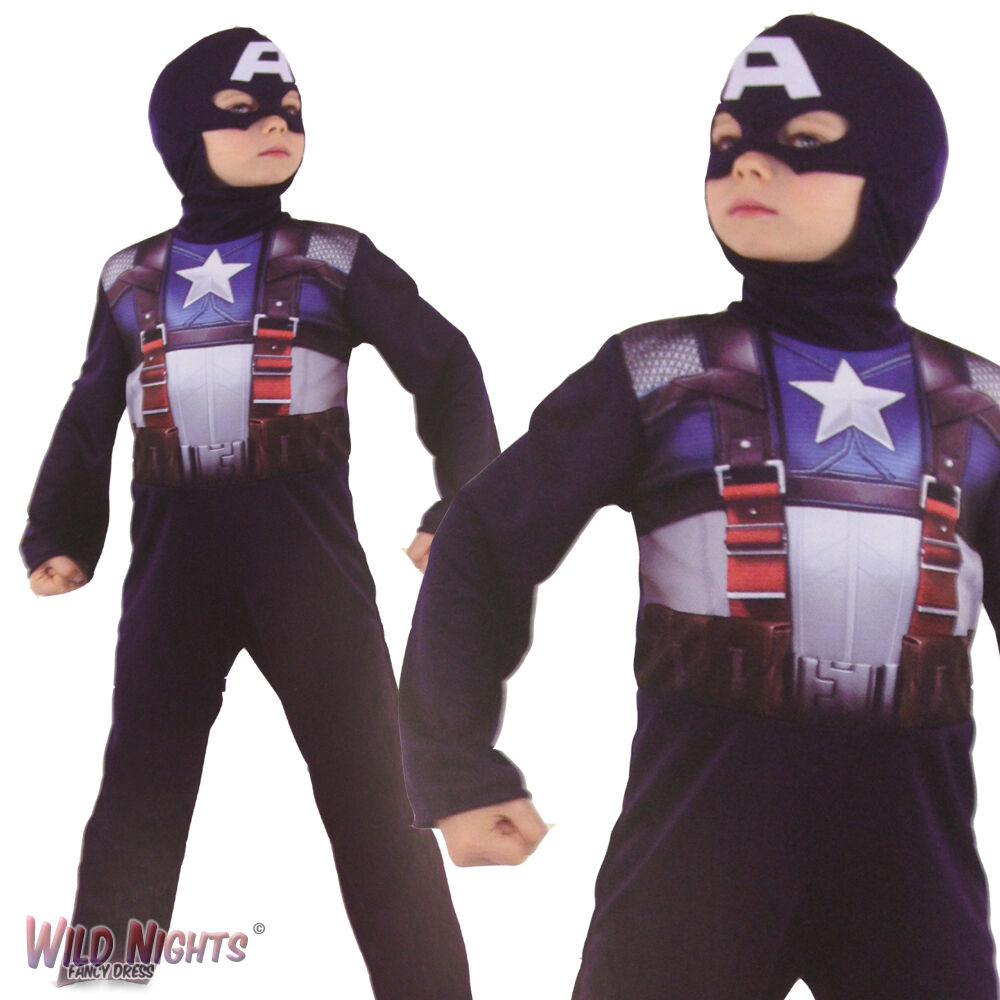 FANCY DRESS COSTUME BOYS MARVEL AVENGERS CAPTAIN AMERICA AGE 3-7 YEARS