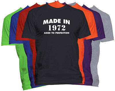 Made in 1972 T-Shirt Born in 1972 Tee Aged to Perfection Birth Year T-Shirt
