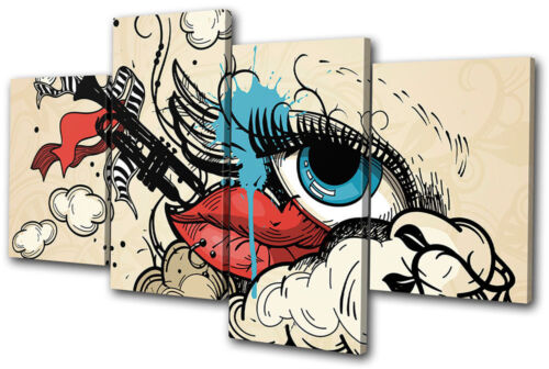 Fashion Vintage Style LipsEye MULTI CANVAS WALL ART Picture Print VA