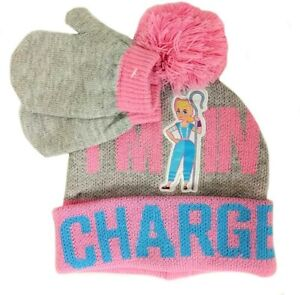 DISNEY TOY STORY 4 BO PEEP Cuffed Beanie Winter Hat & Mittens Set w/Pom-Pom  $24