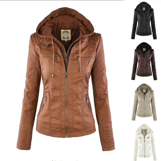 Women Fashion PU Leather Hooded Top Blouse Trench Parka Jacket Overcoat Coat