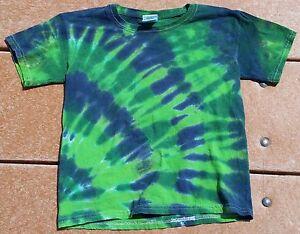 Tie-Dye-T-Shirt-Youth-XS-Green-Midnight-Forest-Gildan-Ultra-Cotton-kids-Free-S-H