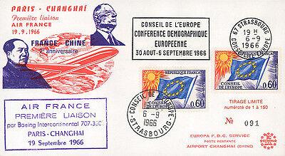 """FFC on board """"1st Flight Air France Paris-Shanghai, MAO ZEDONG & DE GAULLE"""" 1966"""