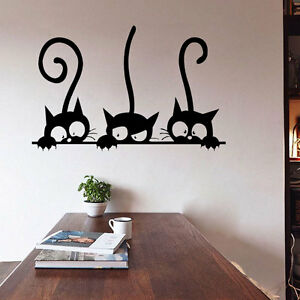 Image Is Loading DIY Three Cats Wall Stickers Removable Living Room