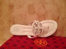 NIB Tory Burch Miller 2 Handpainted Thong Sandals Shoes Leather WHITE 12 M