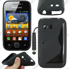 Housse Etui Coque Silicone S-line Gel Noir Samsung Galaxy Y S5360 + Mini Stylet