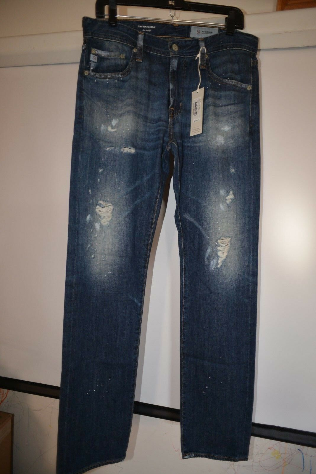 NWT Adriano goldschmied The Matchbox Slim Straight distressed Jeans 31, 32, 33