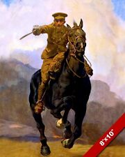 WWI WORLD WAR BRITISH ARMY OFFICER CAVALRY CHARGE PAINTING REAL CANVASART PRINT