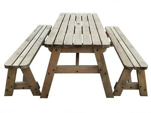 Picnic Table And Bench Set Wooden Outdoor Garden Furniture, Victoria Rounded | EBay