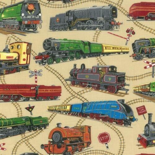 Fat Quarter Loco Motion Locomotive Trains Railway 100/% Cotton Quilting Fabric