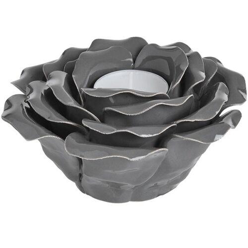 Grey Ceramic Rose Tea Light Holder