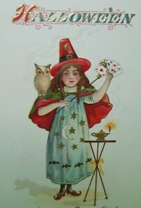 Halloween-Postcard-Nash-Witch-Owl-Playing-Cards-Antique-Original-Vintage-Unused