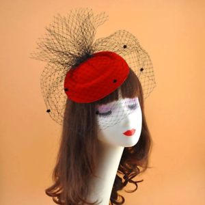 Pillbox With Fishnet Veil Fascinator Hat Red Retro Vintage Wedding Races