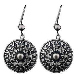925-Sterling-Oxidized-Silver-Plated-Dangle-big-Earrings-Jewelry-21-86-g
