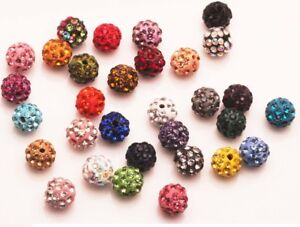 20-Quality-Czech-Crystal-Rhinestones-Pave-Clay-Round-Disco-Ball-Spacer-Bead-10mm
