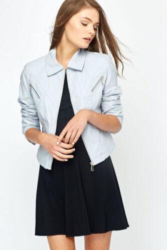 Women soft thin leather biker jacket blue pink beige grey zip blazer 8 10 12 14