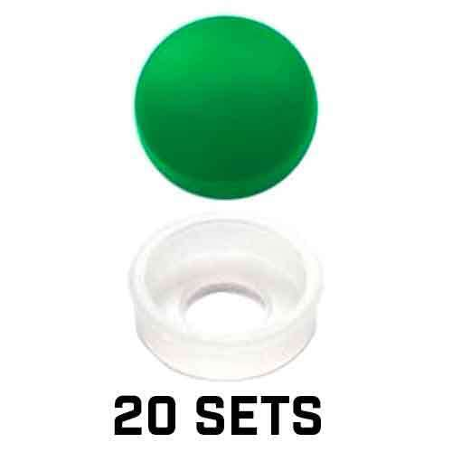 20 Vivid Green License Plate Frame Screw Covers /& Snap Washers For SAE FASTENERS