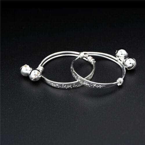 2X Silver Newborn Baby Bell Bangle Bracelet Health Baby Somebody Loves Carved HC