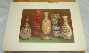 1863-Antique-COLOR-Print-ORNAMENTAL-PAINTED-GLASS-Belgian-Exposition