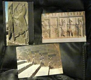 Three Art Postcards Sculptures Of The Shiraz Persepolis Perspolis Palace Iran Ebay