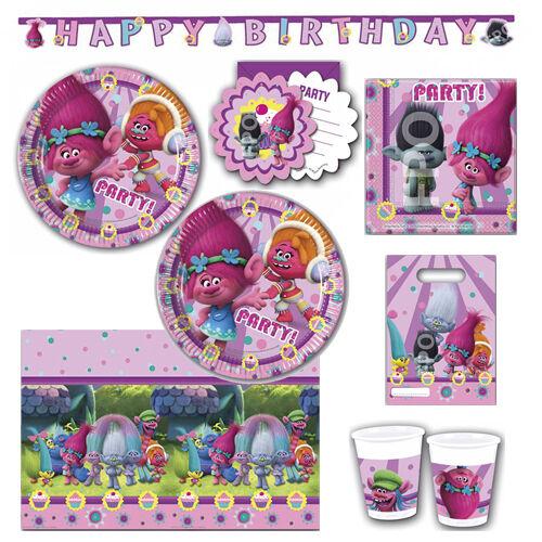 Trolls Party Tableware Children Partyset Children Birthday Plates Napkins Cups #