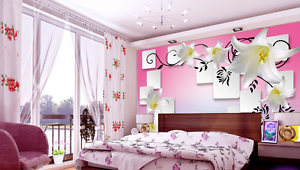 3D White Lily Flower 806 Wall Paper Wall Print Decal Wall AJ WALLPAPER CA