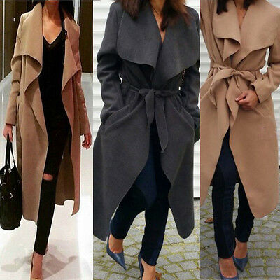 Women's Ladies Waterfall Belted Long Sleeve Trench Duster Coat Trench Coat Celeb