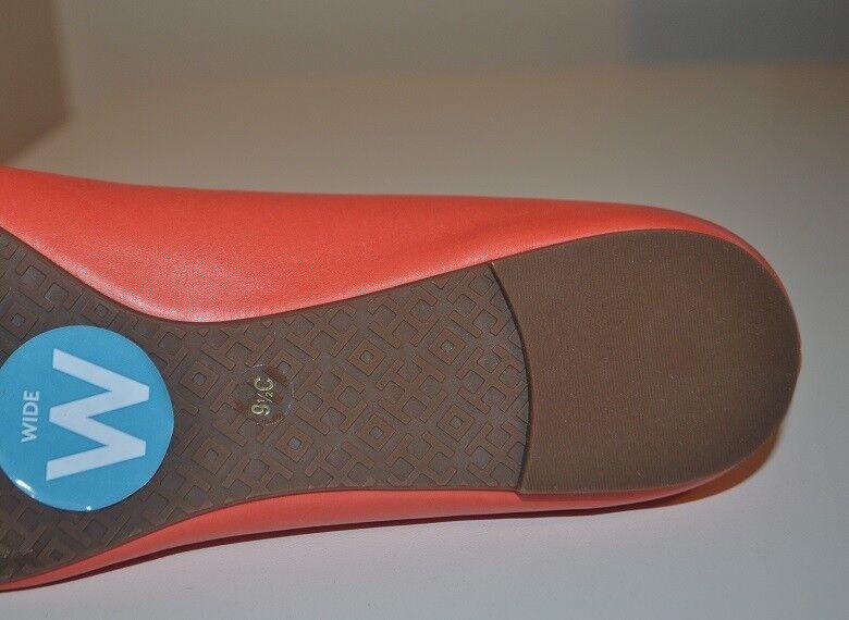 NIB NIB NIB Tory Burch Reva Poppy Coral Leather gold Logo Ballet Flat shoes 9.5 Wide 6167b9