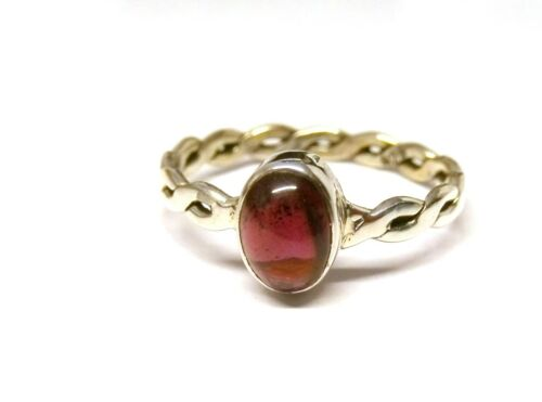 8 x 6 mm Size P Handmade 925 Sterling Silver Twist Ring with Real Garnet