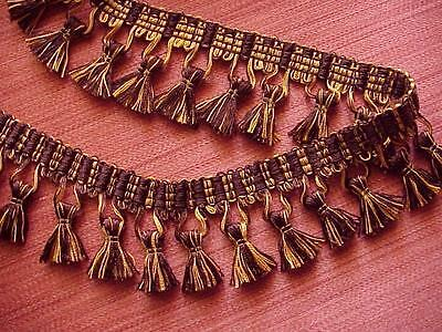"2 1/2"" Yellow Gold/Eggplant Tassel Fringe Trim  Pillows Drapery  2 YARDS or MORE"