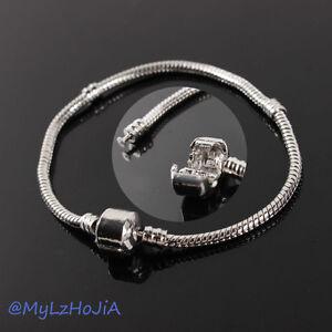 New-1-10pcs-Snake-Chain-Silver-P-Charm-Bracelets-Fit-European-Beads